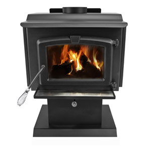 Pleasant Hearth Black Finish with Chrome Accents Small 50,000-BTU Wood Burning Stove with Blower and Ceramic Glass Window,