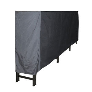 Pleasant Hearth Black Full-Length Log Rack Cover made of Weather-Resistant Polyester Material