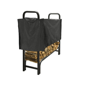 Pleasant Hearth Black 4-Foot Full-Length Log Rack Cover made of Weather-Resistant Polyester Material