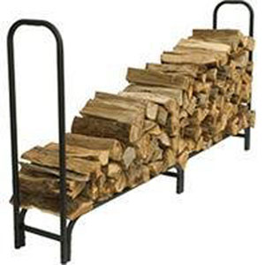 Pleasant Hearth Black Powder Coat Outdoor Steel Firewood Log Rack, 8-Feet Long with 1/2-Cord of Wood Storage Capacity