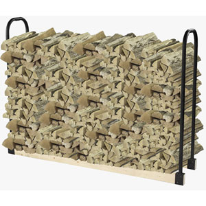Pleasant Hearth Black Outdoor Adjustable Log Storage System For Customized Firewood Rack