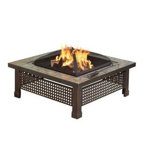 Pleasant Hearth Bronze Bradford 34-Inch Outdoor Natural Slate Square Fire Pit with Table Lid and Cooking Grate