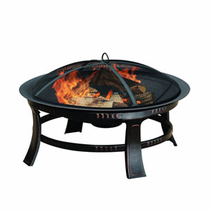 Pleasant Hearth Bronze Brant 30-Inch Outdoor Wood Burning Circular Fire Pit with Mesh Spark Guard and Poker