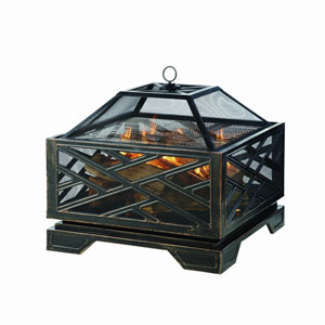 Pleasant Hearth Bronze Martin Outdoor Wood Burning Extra Deep Fire Pit with Cooking Grid and Poker