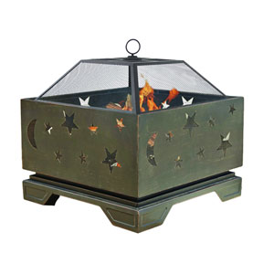 Pleasant Hearth Bronze Stargazer 26-inch Patio Firepit with Spark Guard Cover