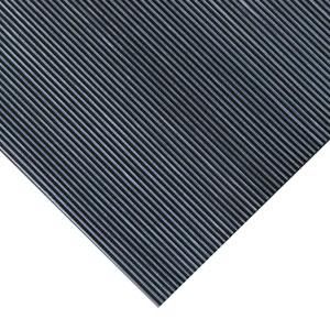 Black Fine Rib Corrugated 4 Ft x 10 Ft Rubber Runner