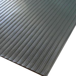 Black Wide Rib Corrugated 4 Ft x 10 Ft Rubber Floor Mat