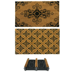 Tan and Black French Provincial Doormat Kit, Set of Three