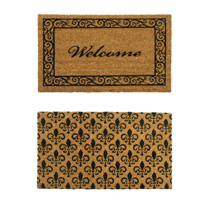 Tan and Black Coir Double Wide Door Mats, Set of Two