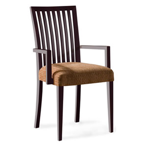 Skyline Sunbrella Sailcloth Shell Arm Chair in Chocolate Finish