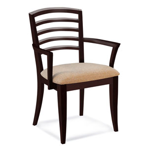 Peter Francis Linen Arm Chair in Walnut Finish