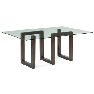 Serpent Walnut Glass Top Dining Table