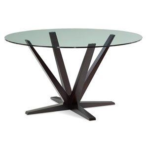 Aura 60-Inch Chocolate Round Glass Top Dining Table