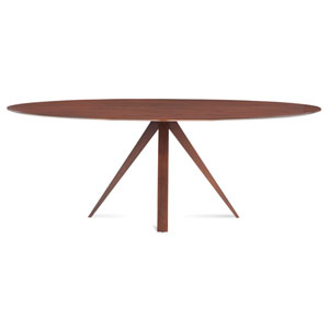 Nova - 36x70 Ellipse Maple Dining Table - Strata Texture Top - Flax Finish