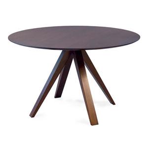 Nova - 42 Round Maple Dining Table - Strata Texture Top - Flax Finish
