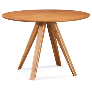Avon - 48 Round Maple Dining Table - Strata Texture Top - Flax Finish