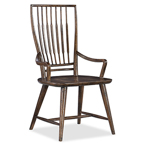 Roslyn County Dark Wood Spindle Back Arm Chair