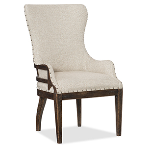 Roslyn County Dark Wood Deconstructed Upholstered Host Chair