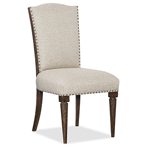 Roslyn County Dark Wood Deconstructed Upholstered Side Chair