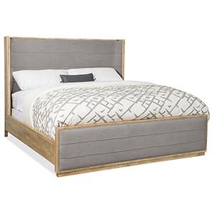 Urban Elevation Light Wood California King Upholstered Shelter Bed