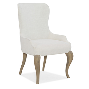 Modern Romance White and Medium Wood Upholstered Arm Chair