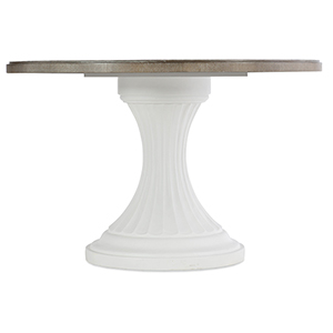 Modern Romance White and Medium Wood 48 In. Round Pedestal Dining Table