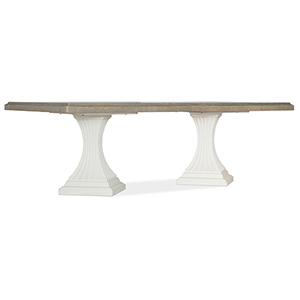 Modern Romance White and Medium Wood Double Pedestal Dining Table with Two 22-Inch Leaves