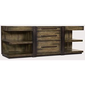 Crafted Dark Wood Leg Desk Credenza
