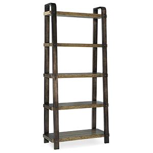 Crafted Dark Wood Ladder Bookcase