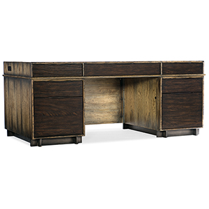 Crafted Dark Wood Executive Desk with Two Drawers