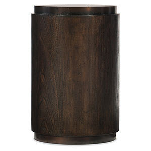 Crafted Dark Wood Drum Table