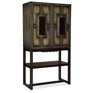 Crafted Dark Wood Bar Cabinet