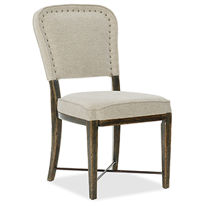 Crafted Dark Wood Upholstered Side Chair