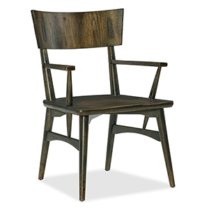 Crafted Dark Wood Arm Chair