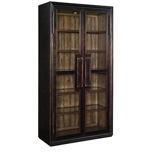 Crafted Dark Wood Display Cabinet