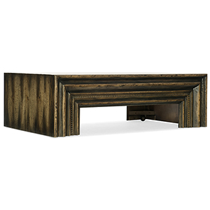 Crafted Dark Wood Rectangle Cocktail Table