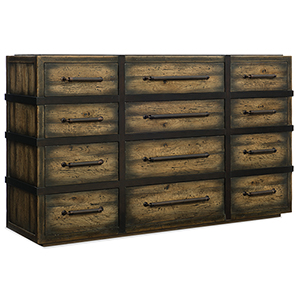 Crafted Dark Wood Twelve-Drawer Dresser