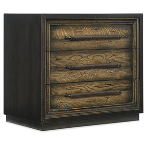 Crafted Dark Wood Metal Wrapped Three-Drawer Nightstand