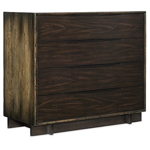 Crafted Dark Wood Four-Drawer Bachelor Chest