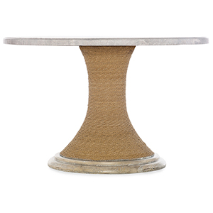 Amani Light Wood 48 In. Round Pedestal Dining Table with Marble Top