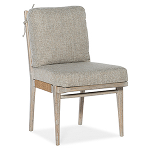Amani Light Wood Upholstered Side Chair with Tie On Back Cushion