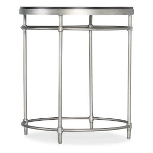St. Armand Black and Brushed Petwer Round End Table