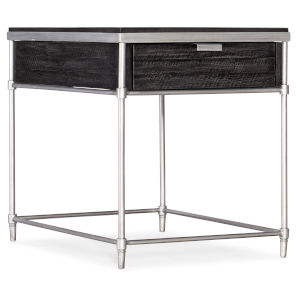 St. Armand Black and Brushed Petwer Rectangular End Table