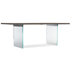 Organic Brown Dining Table with Glass Legs