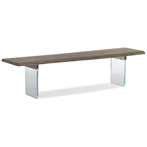 Organic Brown Dining Bench with Glass Legs