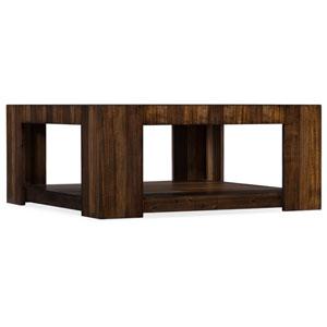 Dark Wood Across the Grain Rectangle Cocktail Table