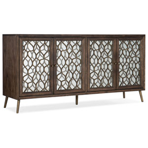 Dark Wood Mixed Metals Entertainment Console