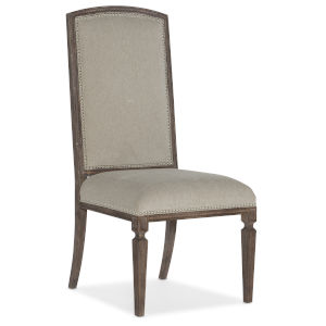 Woodlands Medium Wood 46-Inch Arched Upholstered Side Chair