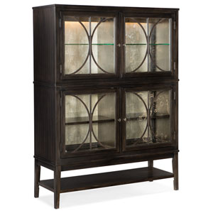 Curvee Dark Wood Display Cabinet