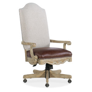 Castella Brown and Beige Tilt Swivel Chair